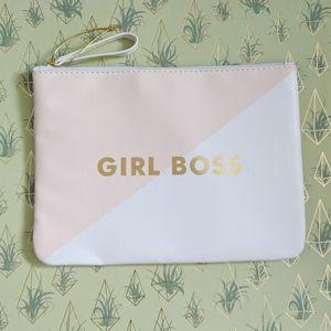(Fringe) NWOT Girl Boss White Pink Makeup Bag